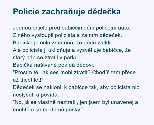 Policie zachraňuje dědečka